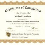 Matias Markou Authentication Certificate