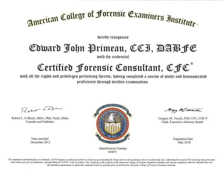 Certified Forensic Consultant ACFEI