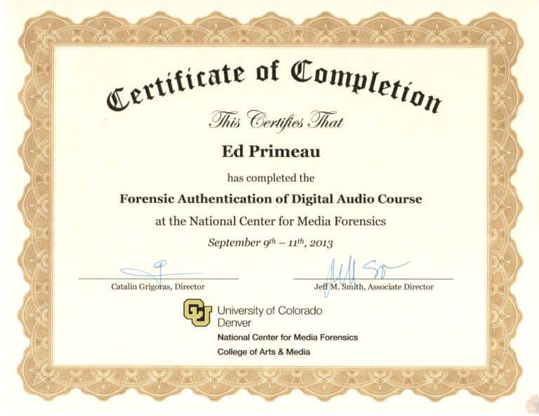 Forensic Authentication of Digital Audio